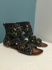 NEW Free People Diamonte Embellished Gem Boot Sandals Size 38 Beaded Bootie