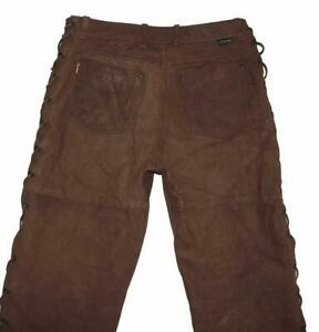 """"""" Hein Gericke """" Damen- Lace-Up Leather Jeans/Leather Trousers IN Braun Size 42"""