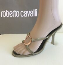 Just Cavalli Women's Shoes Sandals Brown Beige IT 37.5 US 7.5 100% Authentic