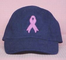 Breast Cancer Awareness Pink Ribbon Navy Blue Hat Cap Cotton Twill New