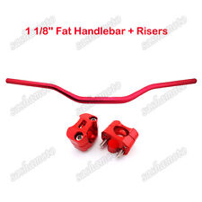 Pit Dirt Bike Red Fat Handlebar 1 1/8'' Taper Risers Clamp ATV Quad Motorcycle