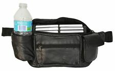 FANNY PACK JUMBO SIDE POCKETS WITH WATER HOLDER NEW BLACK GENUINE LEATHER