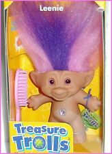 "90s Treasure Trolls Leenie 3"" Wishstone Jewel Purple February Birthstone in Box"