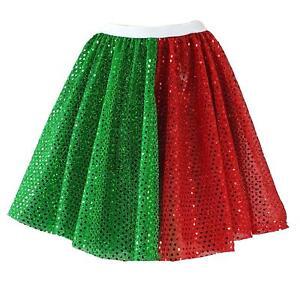 Childs Festive Christmas Santa's Helper Elf Two Tone Sequin Skater Skirt