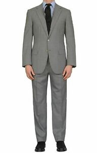 """BRIONI """"PARLAMENTO"""" Handmade Gray Striped Wool Super 150's Suit NEW"""