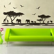 Home Decor 1X African Safari Themed Wall Sticker Jungle Animal Tree Mural LA3