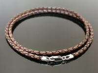 "3mm Brown Braided Leather Sterling Silver Necklace Or Wristband 16"" 18"" 20"" 22"""