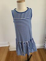 Lands End Girls Blue & White Striped Sleeveless Dress Size S 7-8