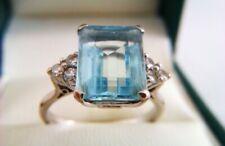 Beautiful 18ct Gold Emerald Cut Aquamarine & Diamond Ladies Ring c1971