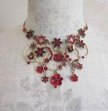 Pilgrim Necklace Flower Encrusted Vintage Gold Red Enamel Pearl & Swarovski