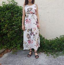 Vestito Donna Abito Donna smanicato fantasia floreale colore bianco