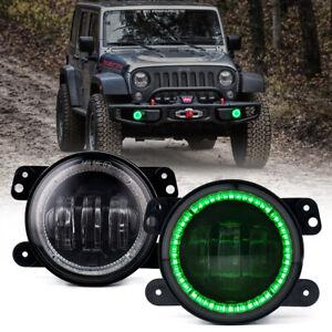 For 2007-2021 Jeep Wrangler JK JL JT LED Fog Lights Driving Lamp with Green Halo