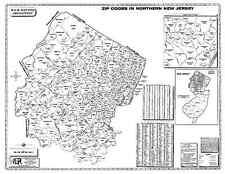 Northeastern New Jersey Laminated Zip Code Wall Map