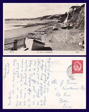 UK CORNWALL THE BEACH AT DOWNDERRY REAL PHOTO 1958 TO J. SHUSMER, BOLTON
