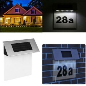 4LED Stainless Solar House Door Sign Plaque Doorplate Number Wall Light Outdoor