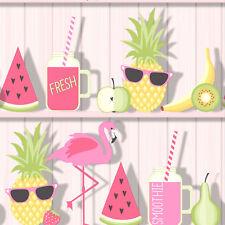 Tropical Shelves Wallpaper Exotic Flamingo Wood Planks Cocktail Fruit Fine Decor