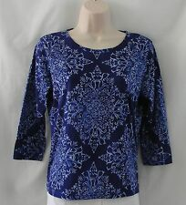 Talbots Shades of Blue 3/4 Sleeve T Shirt Knit Shirt Size Petites Small S
