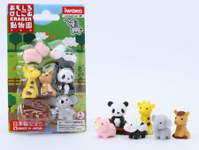 IWAKO Zoo Take-Apart 6 Animals & 1 Tree Trunk Rubber Erasers Set on CARD