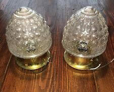 Vintage Sconce Fixtures Bathroom Hallway Lights Wired Matched Pair Brass Patina