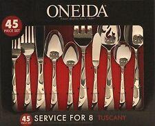 Oneida Tuscany 45-Piece Flatware Set NEW Tableware Silverware Knife Spoon Fork