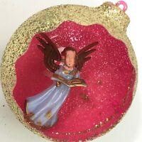 "Angel Diorama Vintage Christmas Ornament 3D Gold Glitter Pink Plastic 3"""