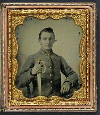 Photo Civil War Confederate Solder In Cavalry Uniform With Saber Sword