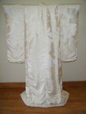 White Japanese Shiromuku Uchikake Wedding Kimono w/ Cranes, Pine & Bamboo - R856