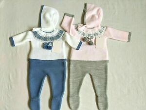 Gorgeous baby girls and boys Spanish knitted pom  matching hat suit set outfit