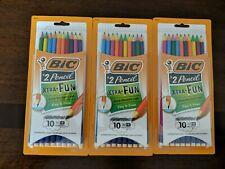 Set Of 3 - BIC® Xtra Fun Pencil, #2 HB, Two-Toned Color Barrels, 10 Pack (30)