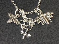 """Honeycomb Bee Charm Tibetan Silver with 18"""" Necklace"""