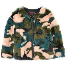 NWT CATIMINI GIRLS SPIRIT CITY FAUX FUR COAT/ JACKET SZ 8 GREEN KHAKI CREAM