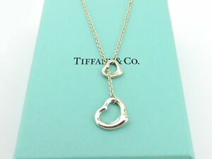 Tiffany & Co Sterling Silver Open Heart Lariat Necklace