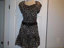 Pinky Animal Print Dress Brown Tan Tiered Belt Size M