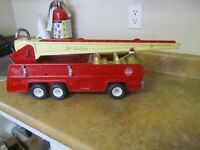 Vintage 1960s Mechanical Wind Up Tin Yone Japan Self Extending Ladder Fire Engine Emergency Truck Metal Toy Collectible Fun