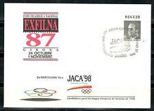 ESPAÑA SOBRE ENTERO POSTAL 1992 EXFILNA 87 DE BARCELONA 92 A JACA 98 ZARAGOZA