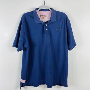 Orvis Blue Signature Polo Shirt Short Sleeve 100% Cotton Casual