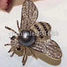 black freshwater Pearl Cz Pave Bee Brooch Pin