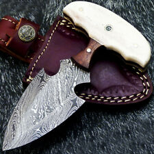 """Authentic HAND FORGED DAMASCUS 5.50"""" DAGGER KNIFE - NATURAL WOOD - TM-7100"""