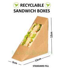 25 Kraft Cardboard Sandwich Holder Wedges ~ Cafe Takeaway Packs ~ Standard Fill