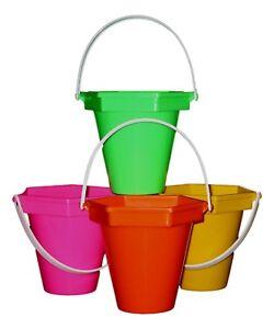 4  Sand Beach Sandbuckets 1 ea Pink, Orange, Yellow, Lime Made in USA Lead Free*