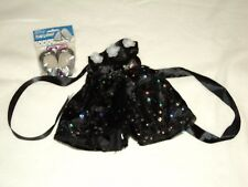 "NEW HANDMADE DOLL DRESS & SHOES BLACK SEQUINED W SILVER SLIPPERS to fit 18"" DOLS"
