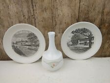 Wedgwood Items 2 Cream Ware Plates & a Small Vase