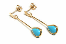 9ct Gold Turquoise Long Teardrop Earrings Made in UK Gift Boxed