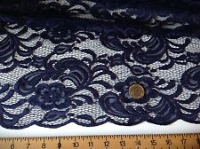 NEW High Class Designer Navy Stretch Net Guipure Floral Scalp Lace Fabric 60""