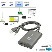 New USB 2.0 To HDMI Converter Adapter With 3.5mm Audio Cable 1080P HDTV For PC