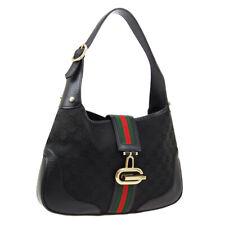 GUCCI GG Shelly Line Shoulder Bag Purse Black Canvas Leather F03183