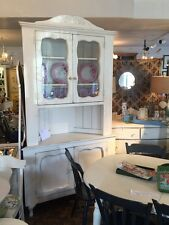 SAVintage Shabby Chic Painted White Vintage Corner Cabinet Glass Doors Two Piece