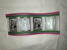 Small Frame Picture Set of 4 Silver Metal W Cloth Trim 2 inch by 3 inch   I