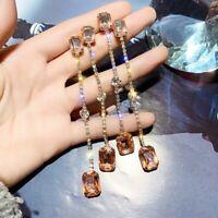 Women Elegant Fashion Earrings Stud Crystal Drop Tassel Long Earrings Jewelry