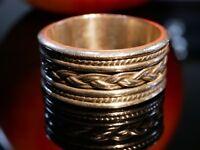 925 Silber Ring Unisex Verzierungen Zopf Optik Schmaler Längsbalken Folklore Top